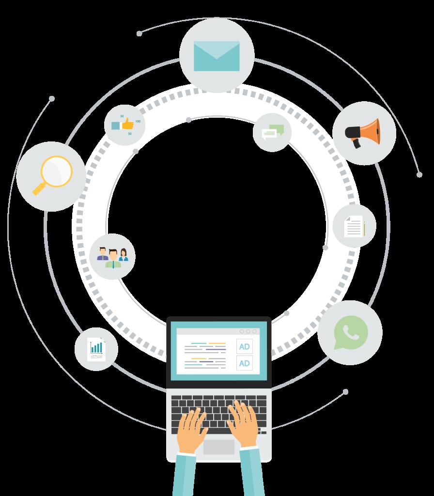 מחשב נייד והמחשה של ״מעגל תקשורת״ מאחוריו
